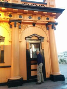 At the golden hour, Gordon Pattison gazes into the Angels Flight station house